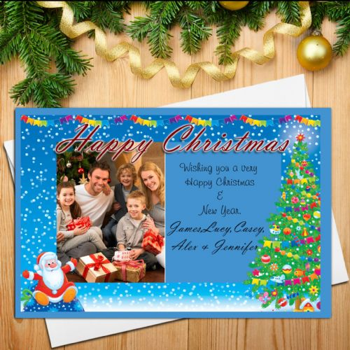 10 Personalised Family Christmas Xmas PHOTO Post Cards N18